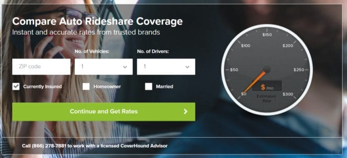 Rideshare Insurance Price Comparison with Coverhound