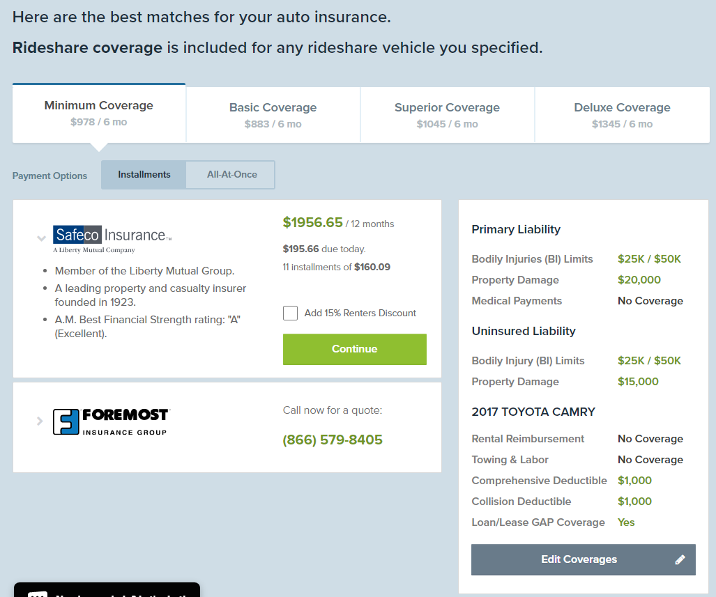 Rideshare Insurance Price Comparison
