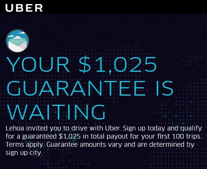 Uber Sign Up Bonus - Get Guaranteed Earnings [Driver Promo Code]