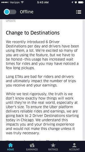 uber cuts destinations