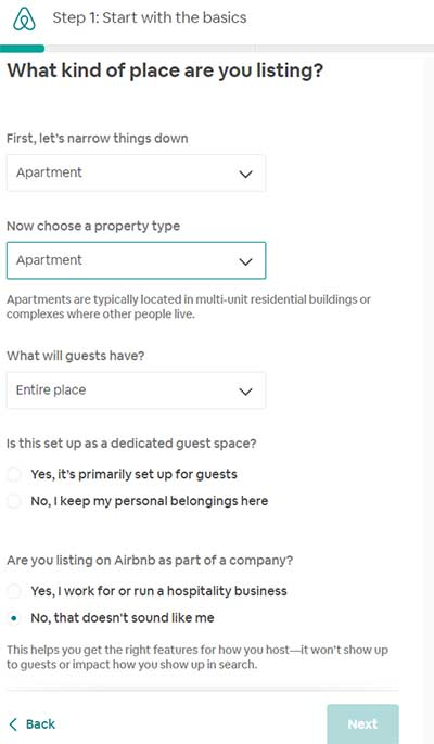 Airbnb Create Listing - Type and Guests