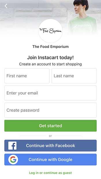 Instacart promo code - sign up screen