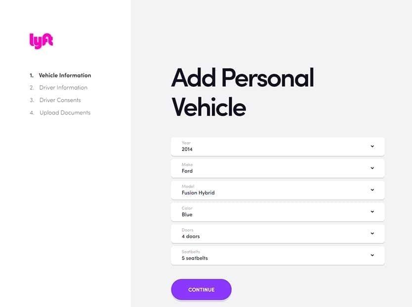 Lyft Application - Add Vehicle
