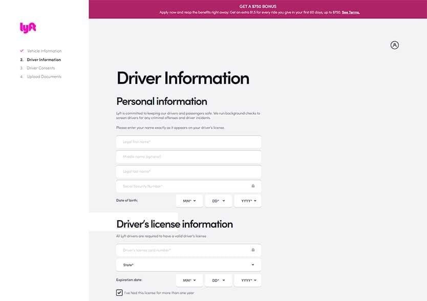 Lyft Application - Driver Info