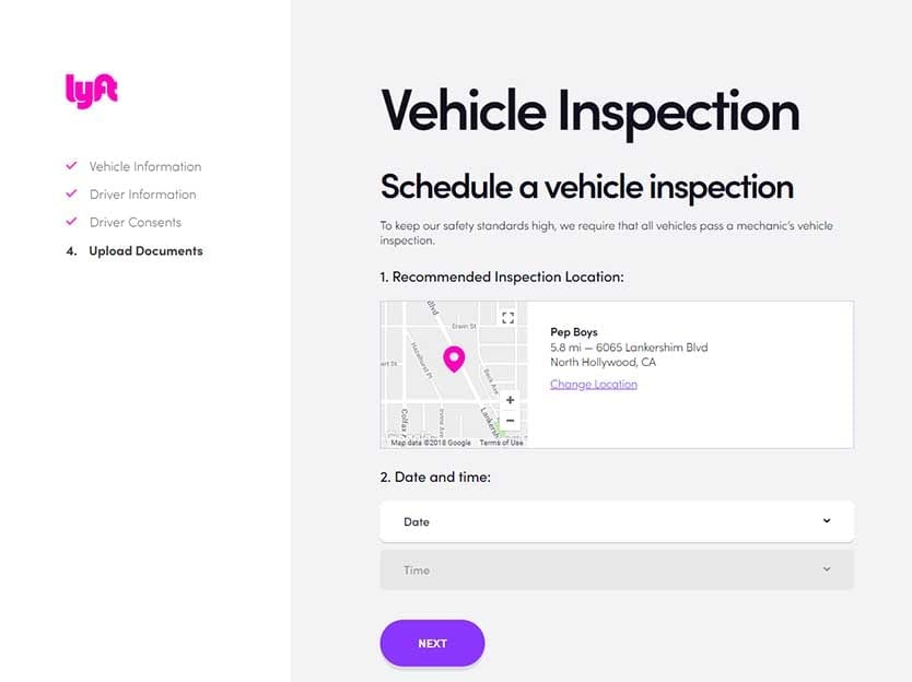 Lyft Application - Vehicle Inspection Location