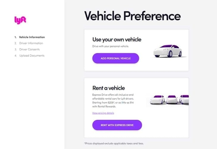 drive with Lyft - Vehicle Preference
