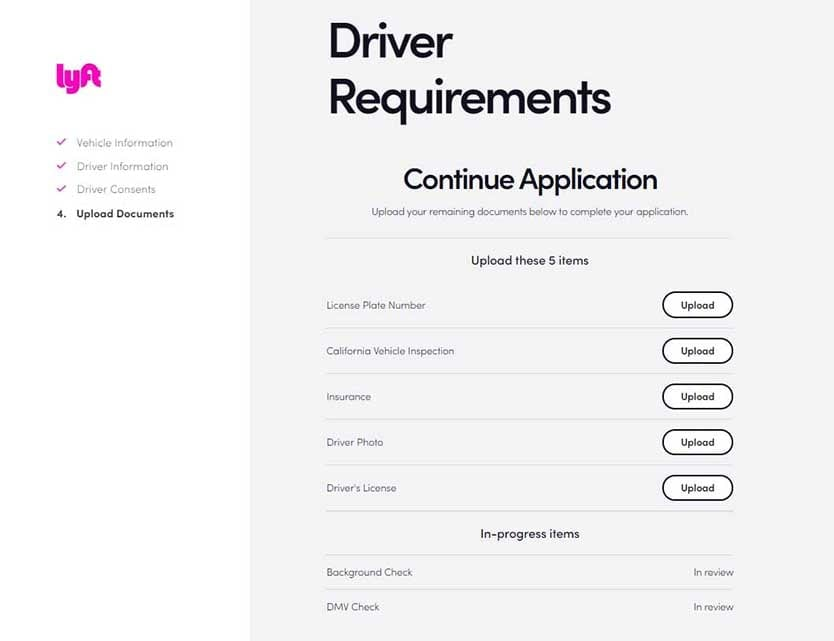 Lyft Driver Application - Upload Documents