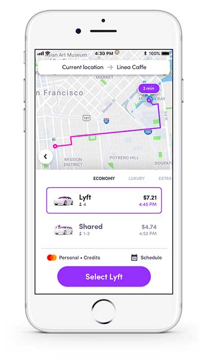 Lyft Passenger App - Shared or Classic Lyft