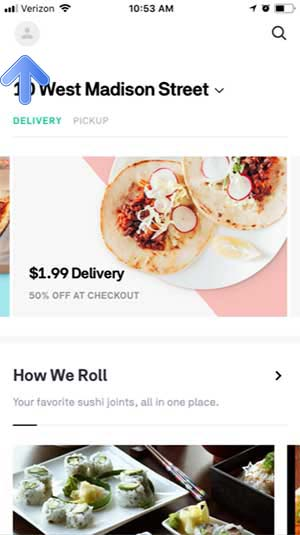 Postmates Promo Code Instructions - Home Screen