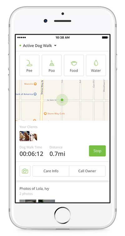 Rover pet sitter tracking chat