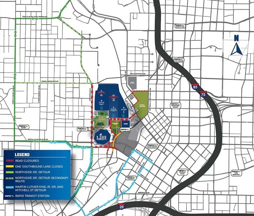 Super Bowl Gameday Street Closures