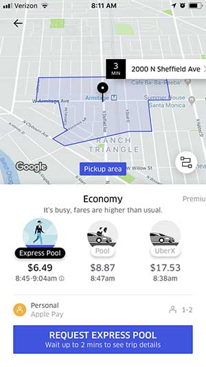 Uber Express Pool Request Ride
