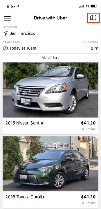 Uber Getaround Rental Car Listing