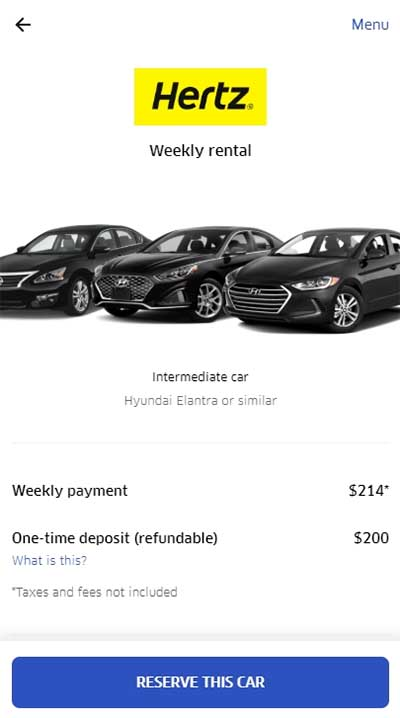 Uber Hertz - Select Rental