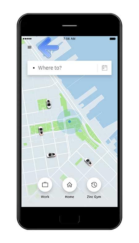 Uber - Access Main Menu