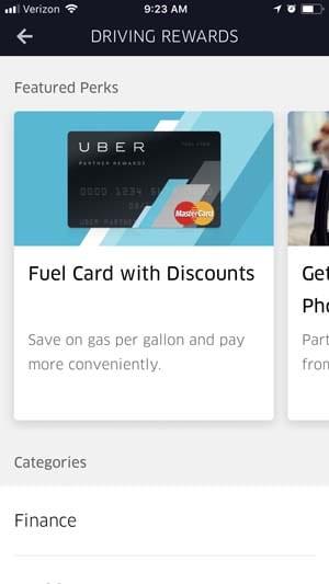 Uber driver app - Fuel Card