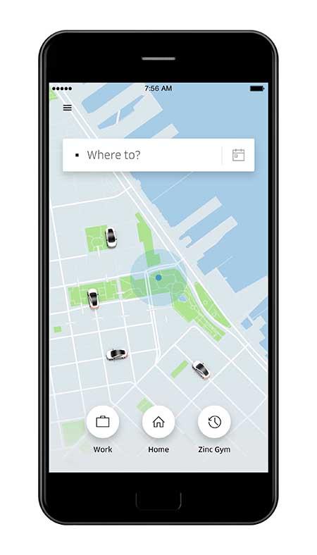 Uber vs. Lyft Uber Home Screen