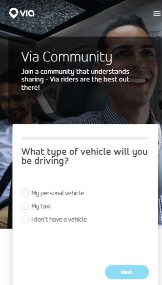 Via Driver Application - Vehicle Type