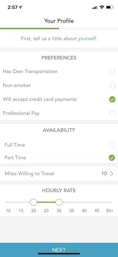 Care.com - Hourly Rate & Payment Settings