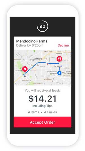 doordash driver pay dasher app accept order