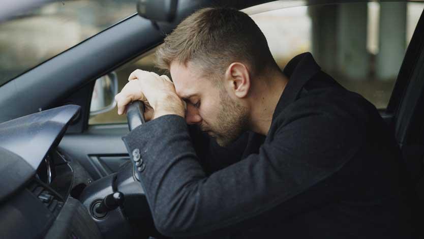 Stressed Doordash driver