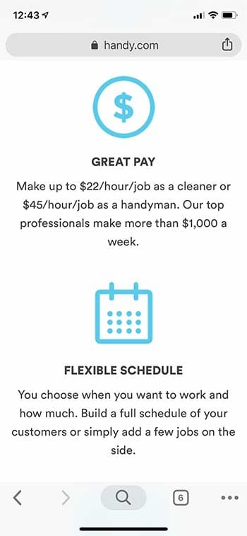 Handy pay and earnings
