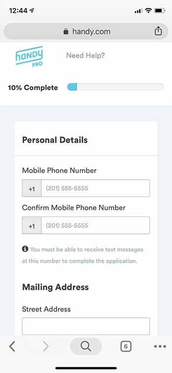 Handy Pro - Enter Phone Number