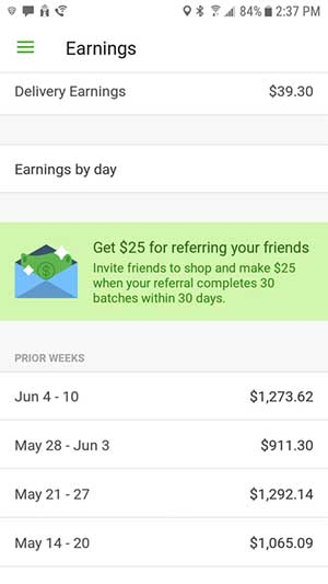 instacart shopper pay - weekly earnings