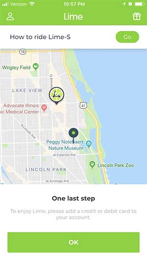 Limebike Smart Bike Rental - Payment Entry