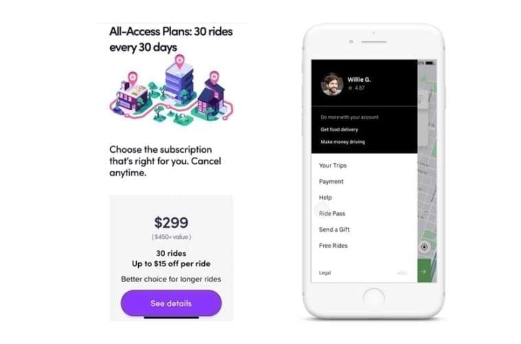 Uber ride pass vs. Lyft all access plan