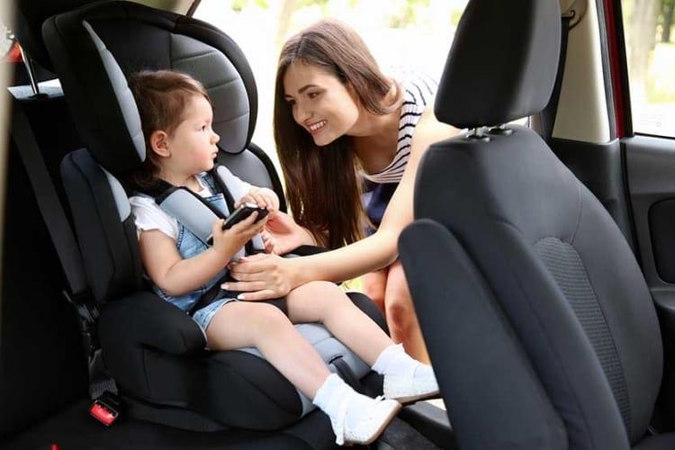 Uber passenger using car seat