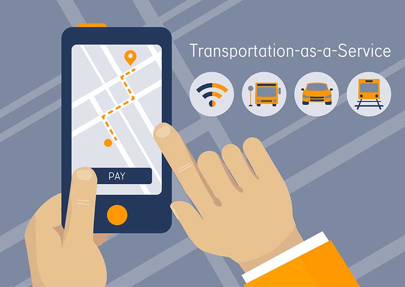transportation as a service graphic with phone