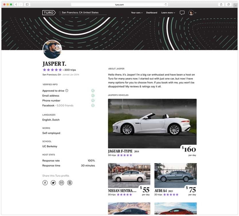 Turo host profile